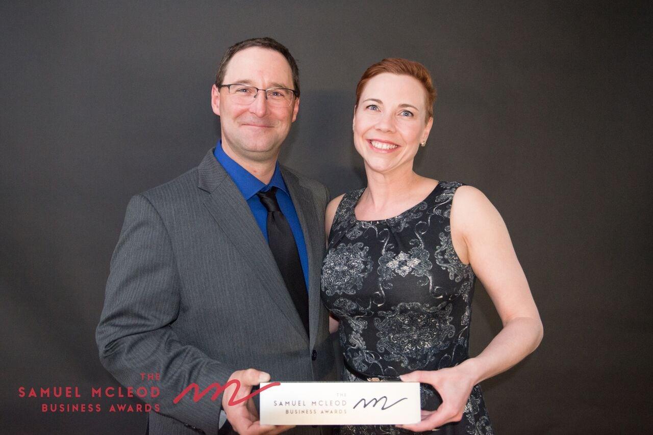 Trevor and Elizabeth Montgomery with their Samuel Macleod award